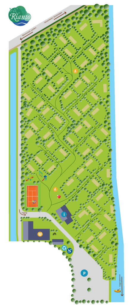 Park plan Camping Rianto Warmond, the Netherlands. Chalet in tulip area.